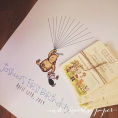Classic Winnie The Pooh party theme invitations and fingerprint guest book alternative print idea for first birthday