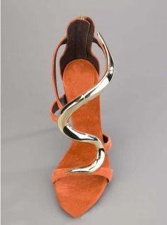 Orange Stiletto Open Toe Sheepskin Sandals