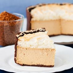 Coffee Cheesecake With Coconut Meringue (in Polish with translator)
