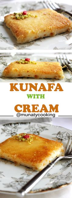 Kunafa with Cream An Arabian dessert has a slight crunch from the outside and oh so creamy from the inside Syrup is poured all over it while hot One of the best desserts served in the Arab culture is part of Arabic dessert - Lebanese Desserts, Lebanese Recipes, Turkish Recipes, Arabic Recipes, Persian Recipes, Easy Kunafa Recipe, Knafe Recipe, Indian Dessert Recipes, Recipes