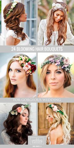 24 Gorgeous Blooming Wedding Hair Bouquets ❤ Floral crowns and blooming wedding…