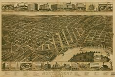 Wellge Solid-Faced Canvas Print Wall Art Print entitled Vintage Birds Eye View Map of Montgomery, Alabama Vintage Birds, Vintage Art, Alabama Decor, Birds Eye View Map, Wall Art Prints, Poster Prints, Montgomery Alabama, Montgomery County, United States Travel