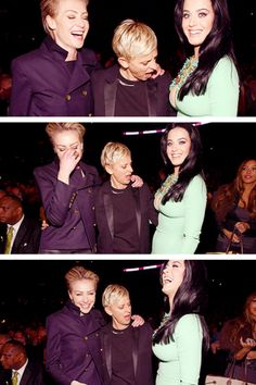 Katy Perry, Ellen and Portia. Apparently Katys boobs are the greatest thing ever. Hahaha!