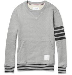 Thom Browne Stripe-Print Loopback-Cotton Sweatshirt | MR PORTER  If you're gonna wear a sweatshirt, wear one like this that has some interest to it.