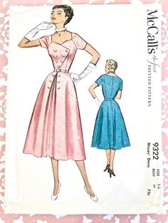 McCalls 9322 Vintage 1950s Sweetheart Neck Dress by Fragolina