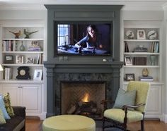 Like fireplace all one colour (built-ins a lighter colour), with built-in counters bit lower than mantle height
