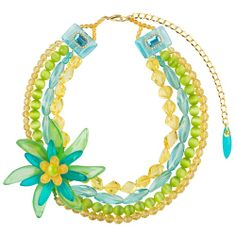 Lalo Treasures Resin Necklace with Flower in Green Tones