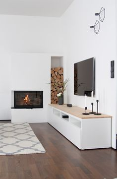 Mobilier design salon cheminée - Zuhause ist's am schönsten - Living Room Tv, Living Room With Fireplace, Living Room Interior, Home And Living, Modern Living, Lobby Interior, Minimalist Living, Muebles Rack Tv, Design Salon