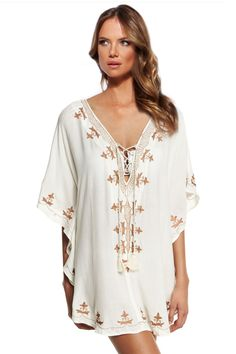 Lovely Romantic Embroidered Tunic Style Pull-Over Beach Dress Cover Up One Size
