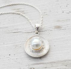 Snow White Pearl Necklace, Sterling Silver Pendant and Delicate Chain, Timeless Jewelry, Dainty Bridal Jewelry, June Birthstone, Summer via Etsy