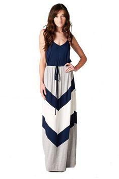 Sleeveless Navy Chevron Colorblock Maxi Dress with Adjustable Straps – Niobe Clothing