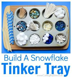 """This is a winter STEM idea: """"Build a Snowflake Tinker Tray."""" She provides loose parts so the kids can build snowflakes. It incorporates math, science, fine motor work, and creativity! Winter Activities For Kids, Christmas Activities, Stem Activities, Christmas Crafts, Crafts For Kids, Winter Preschool Activities, Elderly Activities, Dementia Activities, Toddler Crafts"""