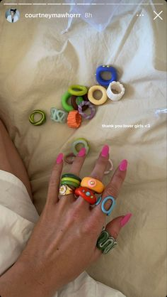 Funky Jewelry, Cute Jewelry, Jewelry Accessories, Handmade Jewelry, Fimo Ring, Polymer Clay Ring, Diy Clay Rings, Nail Ring, Chunky Rings
