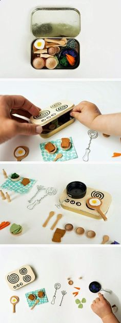 mommo design: IN A MINT TIN. mini kitchen playset-I love mini things! Toy Kitchen, Mini Kitchen, Miniature Kitchen, Kitchen Small, Kitchen Sets, Compact Kitchen, Craft Projects, Crafts For Kids, House Projects