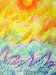 here comes the sun Kaja K Art Classroom Management, Crayon Drawings, 6th Grade Art, Warm And Cool Colors, Art Curriculum, School Art Projects, Arts Ed, High Art, Art Plastique