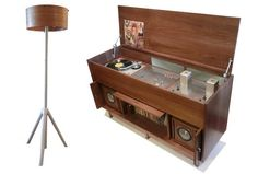 Vintage/Modern furniture design outfitted with both old and new electronics. Modern Wood Furniture, Diy Furniture Plans, Furniture Vintage, Furniture Design, White Wood Desk, Dining Room Console, Light Wood Kitchens, Custom Consoles, Living Room Light Fixtures