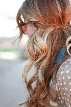 Wavy summer beach hair with a small braid