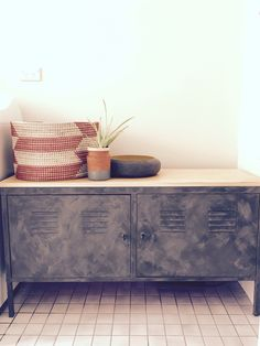 IKEA ps cabinet hack - vintage style locker cabinet - dulux charcoal chintz suede/Tuscan effect paint - pine top