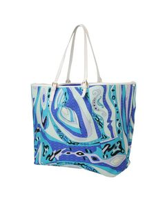 EMILIO PUCCI. This tote is enormous and has very soft fabric that folds up on you. The lining is plain blue and it has no pockets/pouches. I still love Pucci though, just not this tote. They call it a shoulder bag, but it is more like luggage!