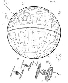 Death Star and Tie Fighters coloring page from A New Hope category. Select from 25683 printable crafts of cartoons, nature, animals, Bible and many more.