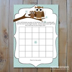 INSTANT DOWNLOAD: Owl Baby Shower Bingo Game Cards / Winter Owl / Printable Baby Shower Game / Print it Yourself 11618. $5.00, via Etsy.
