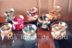 Velas de gel, diferentes decoraciones y aromas