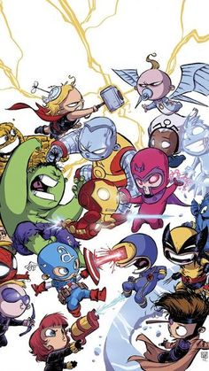 Chibi Marvel iPhone 5S / SE wallpaper