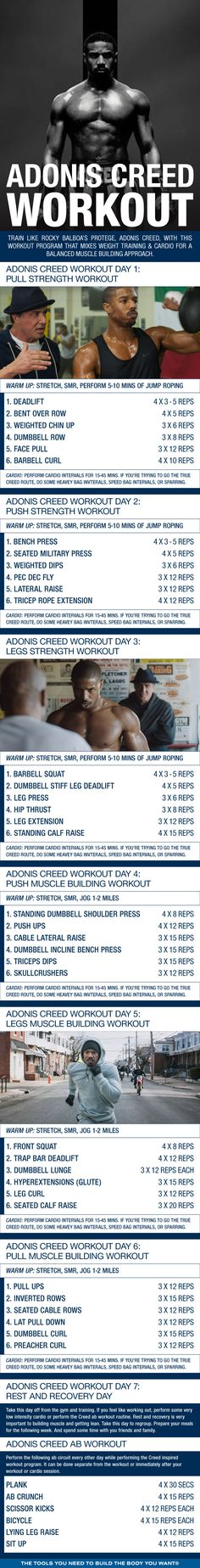 (Click through to download PDF!) Train like Rocky Balboa's protege, Adonis Creed, with this workout program that mixes weight training & cardio for a balanced muscle building approach #Rocky #Creed #MichaelBJordan #Workout #Gym #Boxing #Physique