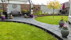 Curved Black Limestone Paving and Planting, Tom Leavy Design, Leavy Landscaping.ie 58 Landscape Design, Garden Design, Limestone Paving, Ireland Landscape, Planting, Garden Landscaping, Sidewalk, Construction, Black