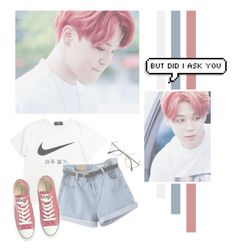 """Park Jimin"" by lazy-alien ❤ liked on Polyvore featuring NIKE, Converse, bts, jimin, parkjimin and Chimchim"