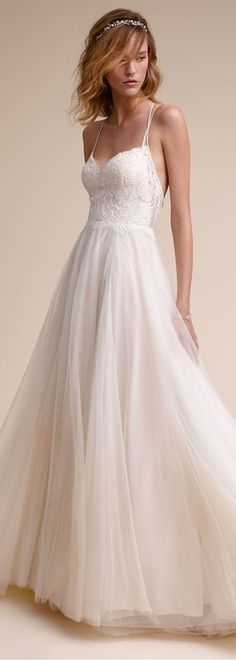 Marvelous Tulle & Stretch Charmeuse Spaghetti Straps A-Line Wedding Dresses With Lace Appliques
