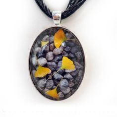 Ginkgo Leaves on Gray Stones Handmade Jewelry Art Pendant *** More info could be found at the image url.(This is an Amazon affiliate link and I receive a commission for the sales)
