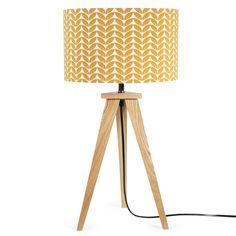 Mosterdgele stoffen en houten BERLIN lamp H 58 cm | Maisons du Monde