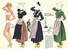 "Dutch paper dolls, part of Swedish series of national costumes (2 of 8)  | Kathleen Taylor's Dakota Dreams describes this series: ""really nicely drawn, and old enough to be totally politically incorrect"""