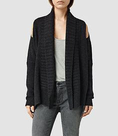 Womens Able Open Shoulder Cardigan (Cinder Black Marl) - product_image_alt_text_1
