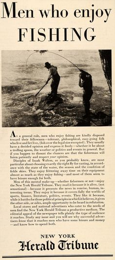 1934 New York Tribune fishing theme ad.