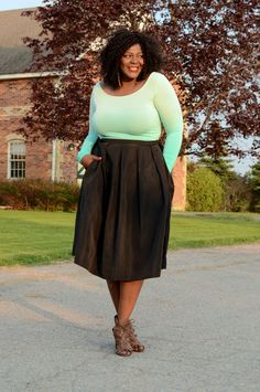 Fashionable-plus-measurement-style  pleated midi  skirt from 424 Fifth Lord & Taylor #plus.... ** Look into even more by clicking the photo
