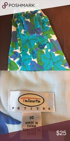 Talbots dress 10P Retro style! Purple/teal floral. Knee length (petite!). Great condition. Talbots Dresses