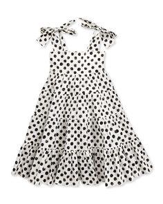 Polka-Dot-Print Poplin Dress, 3-24 Months