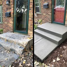 Learn how to build concrete steps that look fantastic and will last 100 years. Repairing Concrete Steps, Concrete Front Steps, Deck Over Concrete, Cement Steps, Diy Concrete Patio, Front Porch Steps, Brick Steps, Concrete Stairs, Front Entry