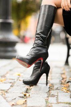 Christian Louboutin Botalili? leather boots Modern Armor :: Cape dress