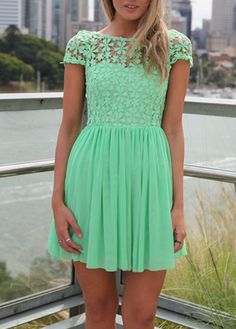 Gorgeous Green Lace and Chiffon Dress