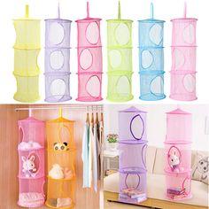 DIU# 3 Shelf Hanging Storage Net Kids Toy Organizer Bag Bedroom Wall Door Closet Free Shipping