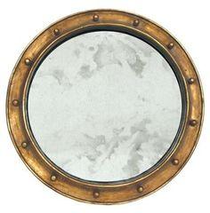 Argonaut Industrial Hollywood Regency Gold Antique Wall Mirror. #kathykuohome