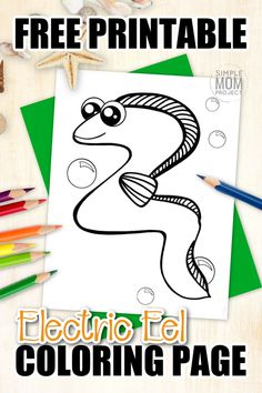 Electric Eel Fish are just another way to teach about the letter E. Why not add this adorable eel coloring page to your sea animal alphabet collection. Draw or sketch your favorite electric designs on him or just simply color him green. As a friend to the moray, guler and wolf eel, this fun eel coloring sheet is the perfect art project for kids of all ages! #eelcoloringpages #electriceelcoloringpage #SimpleMomProject Fish Coloring Page, Mandala Coloring Pages, Animal Coloring Pages, Coloring Sheets, Coloring Books, Drawing Clipart, Drawing Templates, Types Of Eels, Sea Creatures Crafts