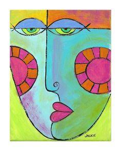 Rosy Cheeks Hand Painted Art Tile by jackieludtke on Etsy, $40.00