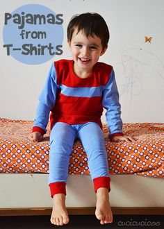 Sew pajamas from old T-shirts, reusing the original collar and hem! Great time saver!