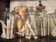 filled apothocary jars