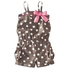 Cherokee® Infant Toddler Girls White Dot Romper - Brown