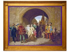 The Tudors at Harbottle Castle;  In this painting, Margaret Tudor is arriving at Harbottle Castle, circa 1515. She gave birth to a daughter (Lady Margaret Douglas) here; fell ill but recovered.